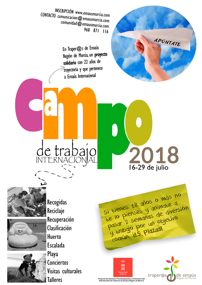 Campo de Trabajo 2018 Traperos Emaus Murcia. Verano Internacional y Solidario