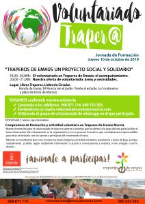 Contenido de la Jornada Formativa Voluntariado 2019 Traperos Emaús Murcia